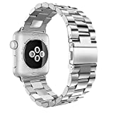 iitee 38mm iWatch Band Stainless Steel Replacement Strap for Apple Watch Series 3 Series 2 Series 1 - Silver