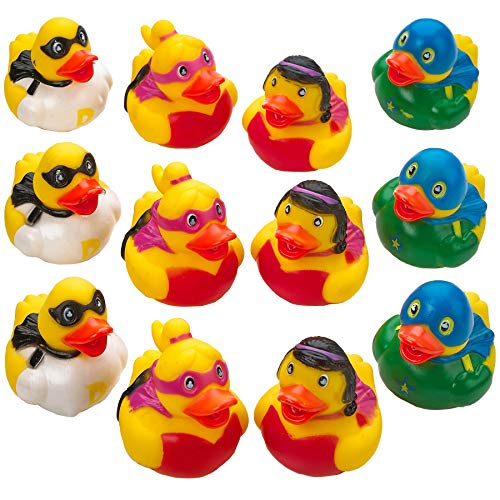 Kicko Superhero Rubber Duckies - 12 Pack - 2 Inch Floating Bathtub Toy - Rubber Ducky for Baby - Halloween Party Favors - Toys for Boys and Girls