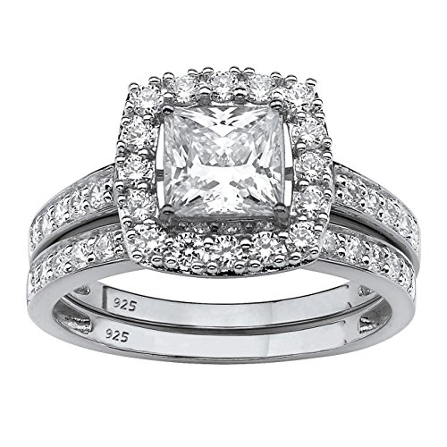 Platinum over Sterling Silver Princess Cut Created White Sapphire 2-Piece Halo Bridal Ring Set Size 8