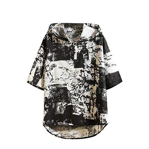 (LISTHA Tie Dye Summer Tees Men's Casual Cotton Linen Hoodie Loose T Shirts Tops Black)