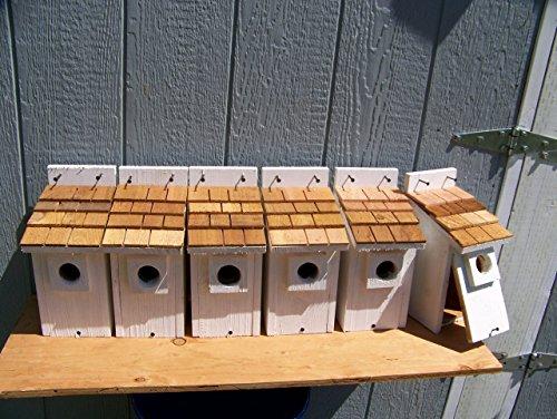 6 White Bluebird Houses with cedar shake roof... 6 houses handmade by Cedarnest