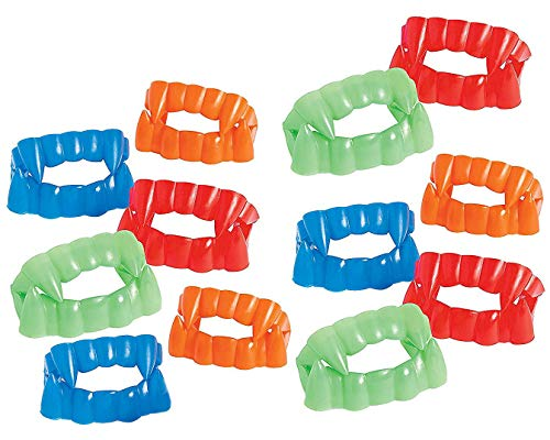 "Bright Color Vampire Teeth Plastic - Pack of 12 - 2.5"" X 1.75"" Assorted Colors - Fun Cool Fangs Halloween, Cinco De Mayo - for Kids and Adults, Great Party -"
