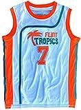 Coffee Black #7 Flint Tropics Semi Pro Basketball Jersey Retro Throwback S-XXL (White, Large)