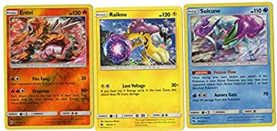Pokemon Legendary Set - SUICUNE Entei Raikou - Sun Moon Lost Thunder - 3 Card LOT
