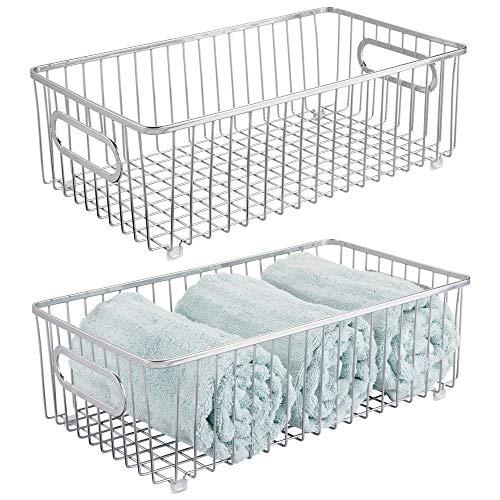 (mDesign Metal Bathroom Storage Organizer Basket Bin - Farmhouse Wire Grid Design - for Cabinets, Shelves, Closets, Vanity Countertops, Bedrooms, Under Sinks - Large, 2 Pack - Chrome)
