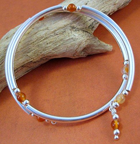 carnelian-silver-plated-metal-memory-wire-wrap-bracelet-by-artsparadis