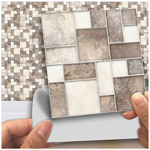 VANCORE 3D Tile Stickers Kitchen Tile Transfers Stickers Bathroom, 10cm x 10cm (Pack of 18), Marble Mixed Printed in 3D