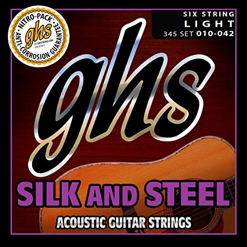 Folk Acoustic Guitar Strings - GHS Strings 345 Silk And Steel, Silver-Plated Copper Acoustic Guitar Strings, Light (.010-.042)