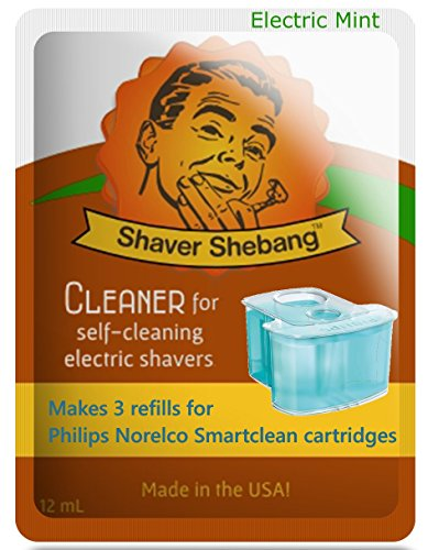 12 Refills for Philips Norelco Cartridges with a FREE Shebang Bottle* - Electric Mint - 4 Shaver ShebangTM cleaner solution replacements for SmartClean