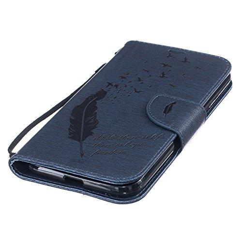 Feeltech Moto G4 / Moto G4 Plus PU Cuero Soporte Plegable Resistente Billetera Con Funda Ranuras Para Tarjetas y Billetes Estilo Libro Cierre Magnético Carcasas Para Moto G4 / Moto G4 Plus - La pluma  La pluma y el pájaro-Azul oscuro