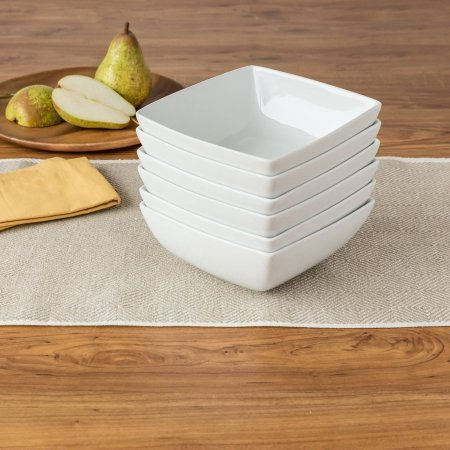 "Set of 6 Coupe Square Bowls 6.25"" x 2.5"", White"