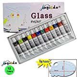Magicdo® 12 Cols Glass Paint With Free Palette, Professional Glass Colour ...