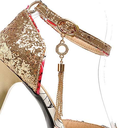 Femme Mélangées GMBLB013656 Sandales Talon Rouge Ouverture Couleurs à d'orteil Boucle AgooLar Haut TAdgYqAw