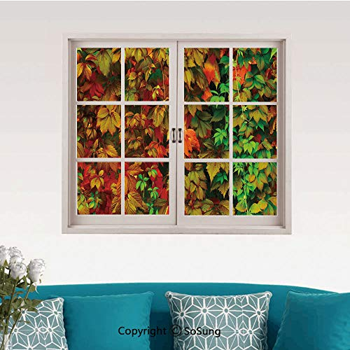 Fall Removable Wall Sticker/Wall Mural,Vivid Leaves of Fall Colorful Fresh Nature Leafage Change of Seasons Theme Image Print Creative Close Window View Wall Decor,24