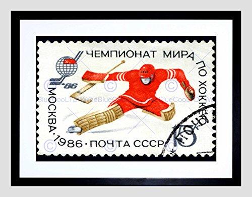 Russia Vintage Postage Stamp ICE Hockey Goalie Black Framed Art Print B12X8930 ()