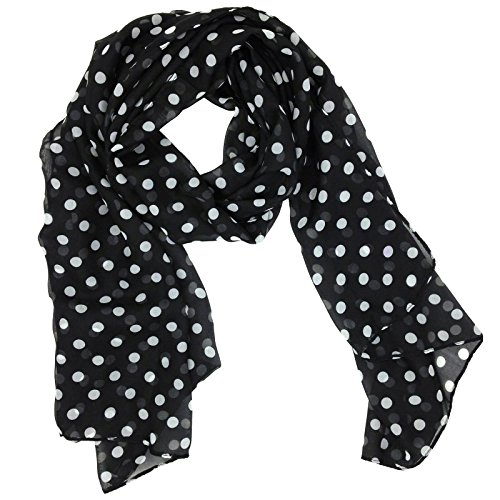 Fashionable Polka Dots Soft Chiffon Scarf - Black
