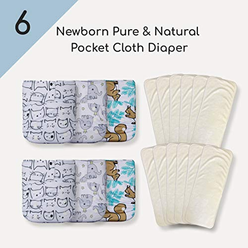 KaWaii Baby 6 Newborn Pure & Natural Cloth Diapers w/12