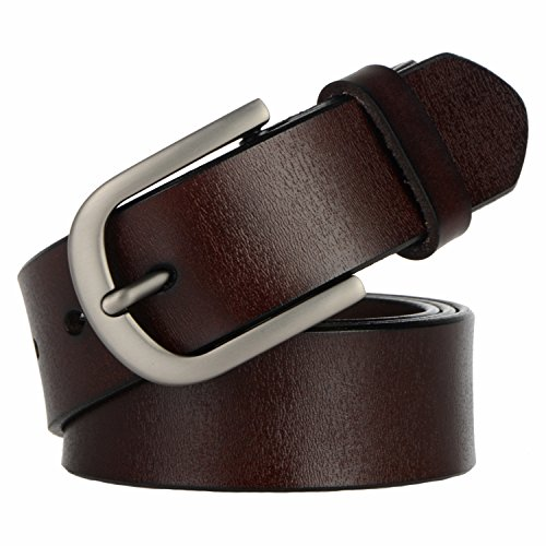 WHIPPY Coffee Genuine Leather Dress Belts for Women Fashion Western Designer Belts