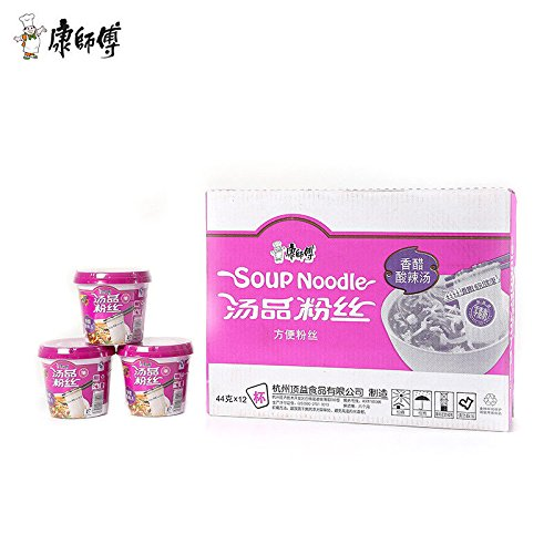 China food co. LTD. New 零脂肪China Instant Noodle(康师傅 香醋酸辣汤 12杯{整箱} Soup Noodle)Delicious汤品粉丝 方便面 湯品粉絲 by China food co. LTD.