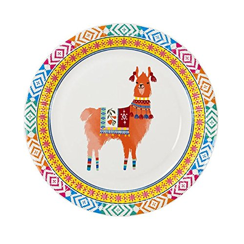 Boho Llama Party Supplies Paper Plates Mexican Set of 16 by Talking Tables