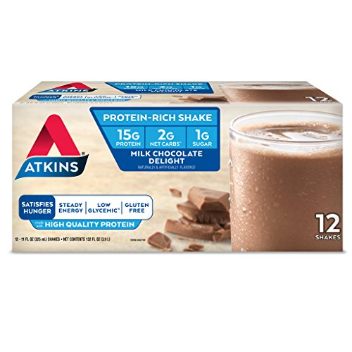 Atkins Gluten Free Protein-Rich Shake, Milk Chocolate Delight, Keto Friendly, 12 Count (High Protein Low Carb Shakes For Weight Loss)