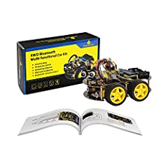 keyestudio 4WD Bluetooth Multi-functional Car is a learning application development system based on microcontroller and with ATmega-328 as core. It has functions of line tracking, obstacle avoidance, IR remote control , Bluetooth remote contr...