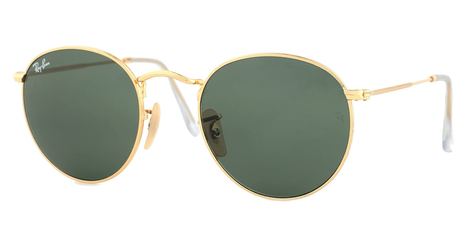 315da3973 Ray-Ban Gold Round Metal Sunglasses RB 3447 001 50mm + SD Glasses +  Cleaning Kit: Amazon.co.uk: Clothing