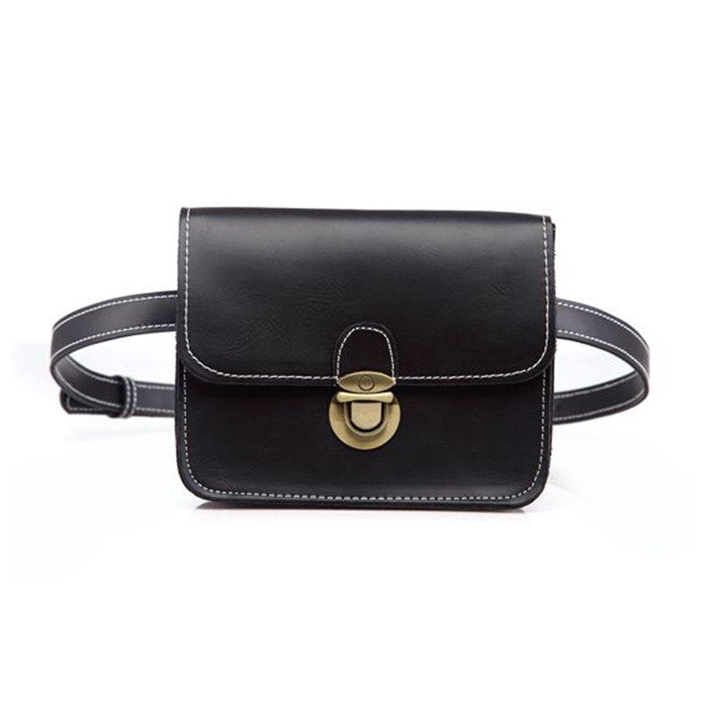 Ladies Casual PU Leather Soft Flap Bag Thread Black Money Wallet Phone Bag Vintage Lock Waist Bags