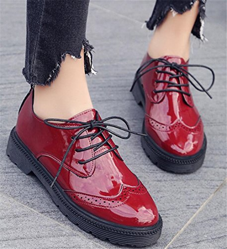 Women Platform Heel Casual for Up Dress SATUKI Oxford Shoe Shoes Red Lace B8wXqSE