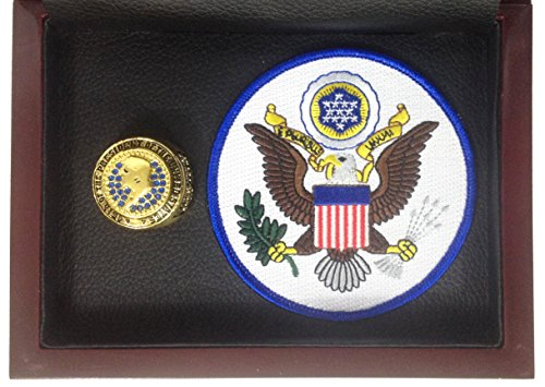 (Donald Trump 45th President of the United States Souvenir Ring Display - Gold Plated with Blue Stones and Presidential Seal Patch - Shipped from USA)