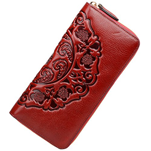 PIJUSHI Women's Genuine Leather Organizer Wallet Large Zipper Purse (91864 red)