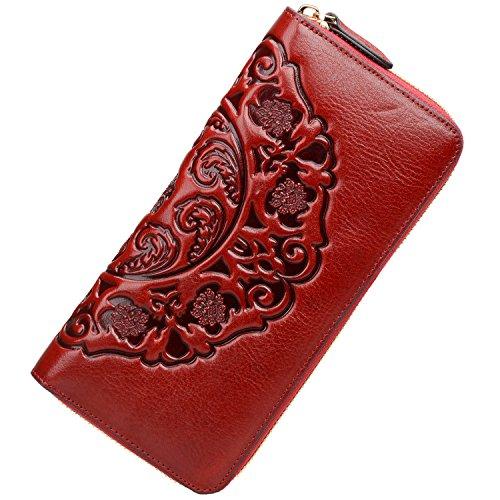 PIJUSHI Women's Genuine Leather Organizer Wallet Large Zipper Purse (91864 red)