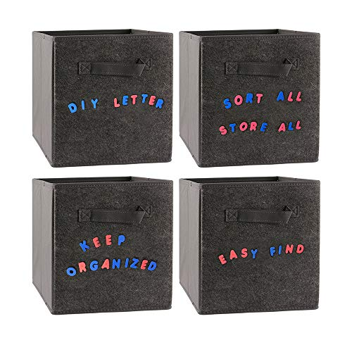 MCleanPin Storage Cubes with 208 Sticky Label Letters for Sorting, Foldable Fabric Bins, Shelf Basket & Container, Fit Standard Cube Organizer 11x11x11 inch 4 Pack Grey