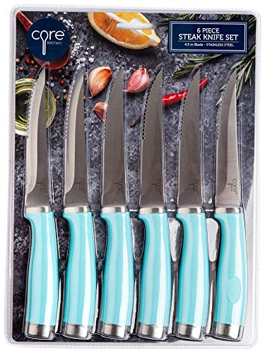Core Home 6-pc. Stainless Steel Steak Knife Set One Size Aqua blue