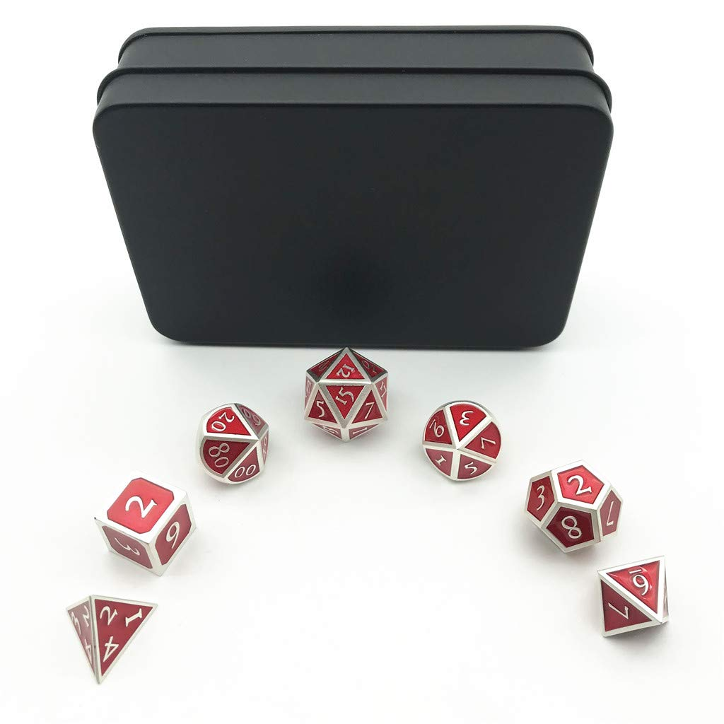 Metallic Tweezers for DND RPG,Pearl Silver Color /& Red Background. Momostar Solid Polyhedron Dice