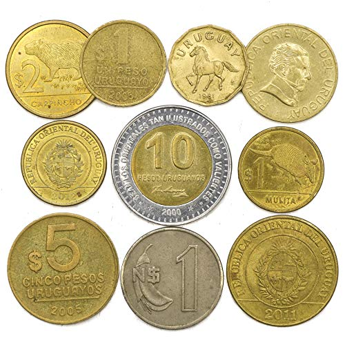 (10 Old Coins from Oriental Republic of The Uruguay. South American Collectible Coins centesimos, pesos. Perfect Choice for Your Coin Bank, Coin Holders and Coin Album)