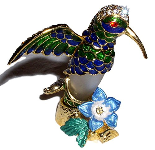 Welforth Bejeweled Blue & Green Hummingbird with Flower Crystal Enamel Perfume -