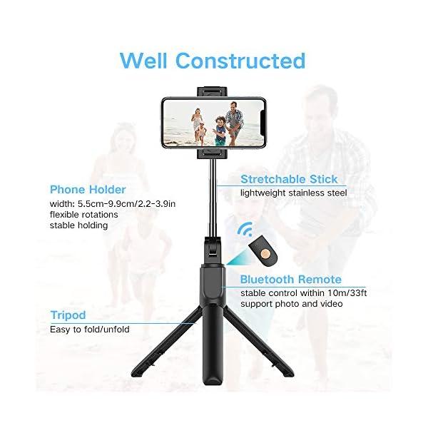 doosl Bastone Selfie Bluetooth, Selfie Stick Monopiede, Mini Estensibile 3 in 1 Selfie Stick Treppiede con Telecomando Wireless per Smartphone 6 spesavip