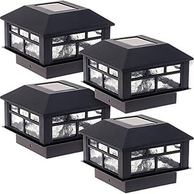 GreenLighting 4 Pack Modern Design Solar Powered Post Cap Light for 4x4 Wood Posts (Black)