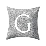 Letter Pillow Case Covers Metallic Throw Pillow Case 18x18'' A-Z Letter Alphabets Cushion Cover for Home Sofa Couch Decor (G)