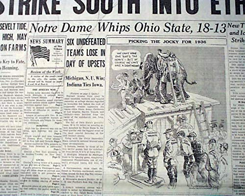 NOTRE DAME Irish vs Ohio State College FOOTBALL Game of Century 1935 Newspaper CHICAGO SUNDAY TRIBUNE, November 3, 1935 - Ohio State Historic Football