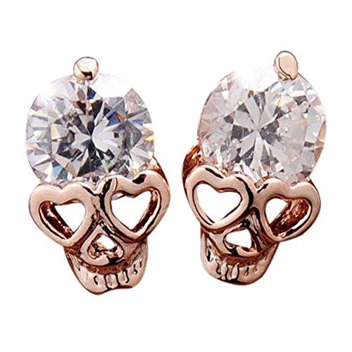 Ottilie Cubic Zirconia Skull Stud Earrings