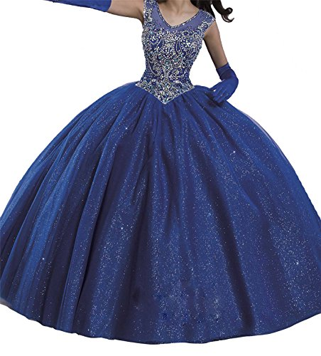 Yang Sweet 16 Girls Boat Neck Sequin Ball Gowns Floor Length Quinceanera Dresses 16 US ()
