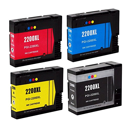 HOTCOLOR (TM) 3 Color+ 1 Black New Compatible PGI-2200XL 4 Pack Ink PGI-2200XL Combo Pack Black Ink Cyan Magenta Yellow Pigment Ink Cartridge for MAXIFY IB4020 MB5020 MB5320 (2200 Compatible Magenta Ink)