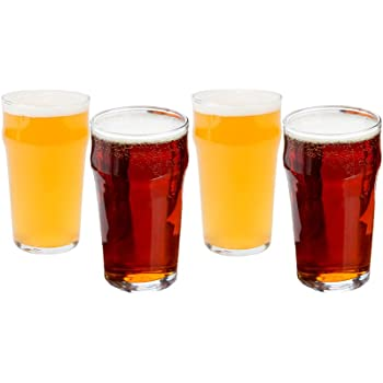 cded480a02d Beer Glasses Set of 4 British Pint - Pub Beer Glasses 20 oz. - Big Tasteful Beer  Glasses for Porter