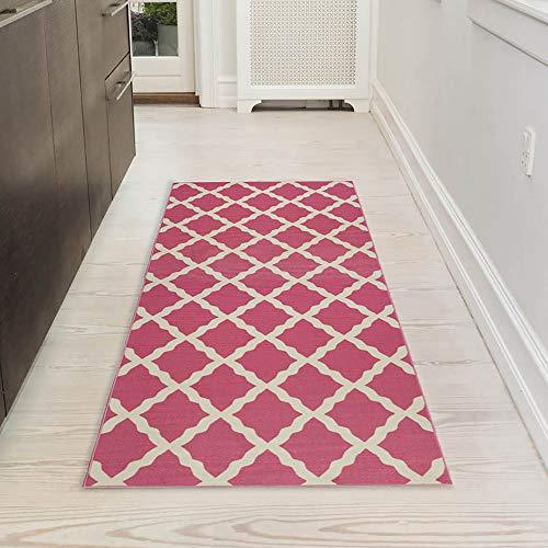 Ottomanson Glamour Collection Contemporary Moroccan Trellis Design Runner Rug (Non-Slip) Kitchen and Bathroom Mat, 20