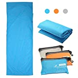 CAMTOA Travel Camping Sheet, Envelope Antimicrobial Soft Sleeping bag Liner - Compact Sleep Sheet with Lightweight Carry Bag for Travel,Youth Hostels, Picnic, Planes, Trains etc. Sky Blue