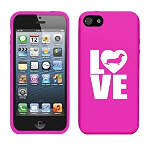 Apple iPhone 5 5s Silicone Soft Rubber Skin Case Cover Love Dachshund (Pink)