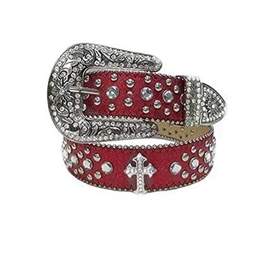Deal Fashionista RED CROSS Concho Western Rhinestone Bling Studded Buckle Belt