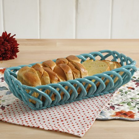 Timeless Beauty 10.7-Inch Turquoise Bread Basket by Gibson (Image #1)